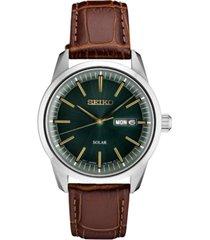 seiko men's solar essentials brown leather strap watch 40mm