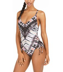 bar iii tie-dyed low-back one-piece swimsuit, created for macy's women's swimsuit