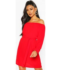 off shoulder belted shift dress, red