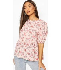 floral puff sleeve woven smock top, stone