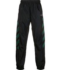 off-white diagonal stripe track pants - black