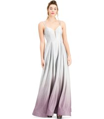 b darlin juniors' strappy-back ombre sparkle gown