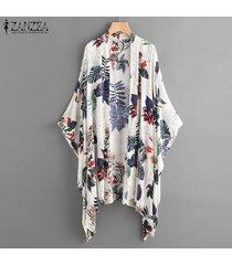 zanzea verano de las mujeres floral manga del batwing flojo tops túnica capa de las señoras outwear cardigan -azul