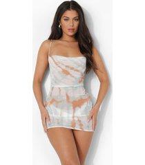 tie dye strand jurk met waterval hals, white