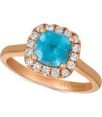 le vian blue zircon (1-5/8 ct.t.w.) & diamond (1/3 ct. t.w.) ring in 14k rose gold