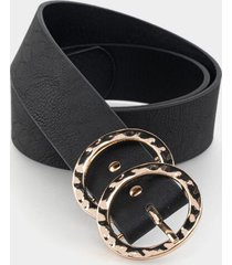 rosalie hammered double circle belt - black