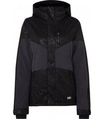 o'neill ski jas o'neill women coral jacket black aop w/ white-xs