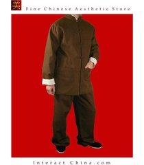 100% cotton brown kung fu martial arts tai chi uniform suit tailor made