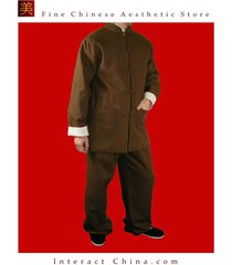 100% cotton brown kung fu martial arts tai chi uniform suit tailor made