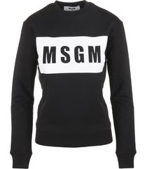 msgm woman black logo box sweatshirt