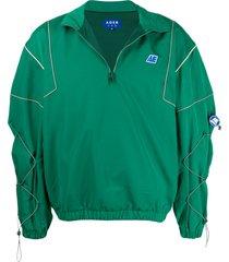 ader error logo embroidered toggle detail jacket - green