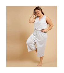 pijama plus size macacão feminino recorte renda marisa