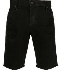 rta coated ripped shorts - black