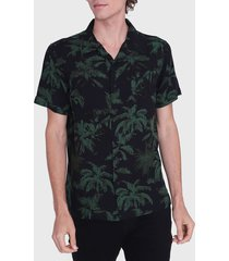 camisa ellus guayabera full print palms negro - calce regular