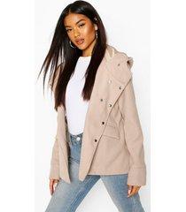 hooded wool look coat, stone