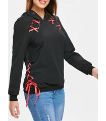 lace up ribbon hoodie