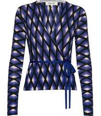 dvf silver gebreide trui cardigan multi/patroon diane von furstenberg