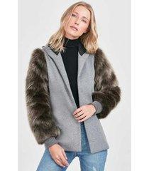 casaco pelos nas rubinella mangas feminino