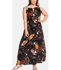 city chic trendy plus size canopy halter maxi dress