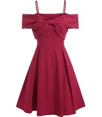 front bowknot cold shoulder party dress