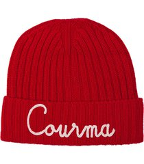 red blended cashmere hat courma embroidery