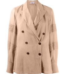 brunello cucinelli bead-detail double-breasted jacket - neutrals