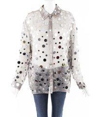 rosie assoulin gray silver mirrored sequin silk blouse silver/gray/geometric sz: xl