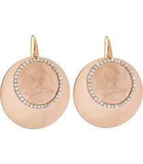 orecchini in mnetallo lucido/satinato rosato e cristalli per donna