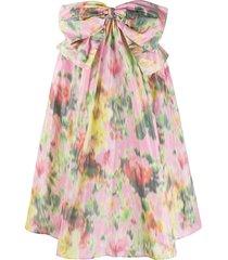 msgm bow-embellished floral skirt - pink
