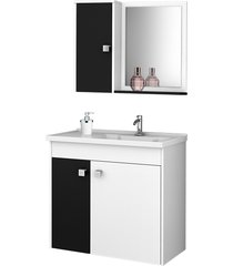 conjunto p/ banheiro munique branco/preto mã³veis bechara - branco - dafiti