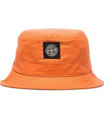 stone island reflective logo patch bucket hat - orange