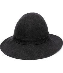 ami paris wide-brim sun hat - black