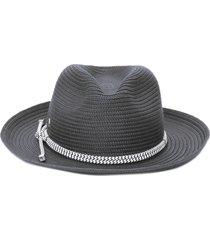 chapéu feminino fedora algodão - preto