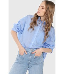 camisa azul-blanco mng