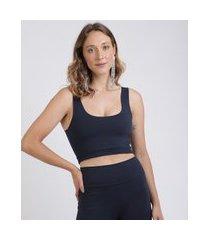 top cropped feminino mindset alças médias decote redondo azul marinho