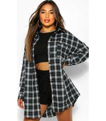 petite garefelde geruite oversized blouse, zwart