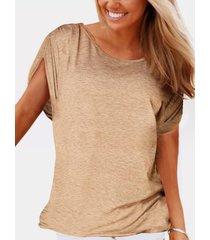 yoins basics caqui plisado diseño redondo cuello camiseta de manga corta