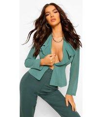 chiffon blouse met franjes en laag decolleté, teal