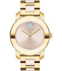 women's movado bold pave dot ceramic bracelet watch, 36mm