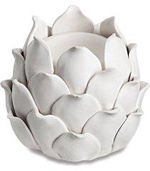 porta velas cerâmica branco 9,5cm mart