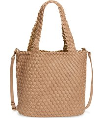 mali + lili ray reversible & convertible woven vegan leather tote - beige