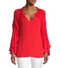 carolina ruched silk bell-sleeve blouse