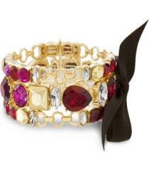 catherine malandrino women's red, hot pink and metallic rhinestone 3-row black ribbon yellow gold-tone trio link bracelet set