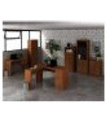 conjunto escritório completo 6 peças cj4 amendoa tecno mobili