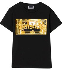 young versace black t-shirt with frontal press
