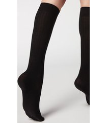 calzedonia women's ribbed long socks with cashmere woman black size 36-38