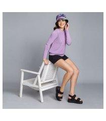 lez a lez - blusão manga longa textura tricô lilas europa