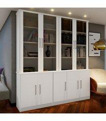 estante para livros 9 portas 8 prateleiras branco 127612 - foscarini