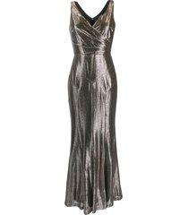 lauren ralph lauren metallic evening gown - gold