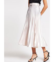 river island womens silver belted pleated midi skirt